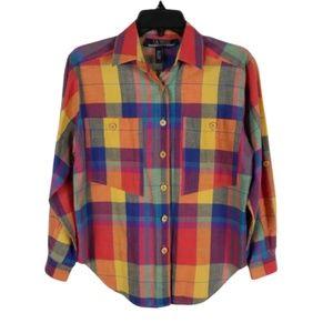 Vintage Colorful Plaid Button Up Shirt
